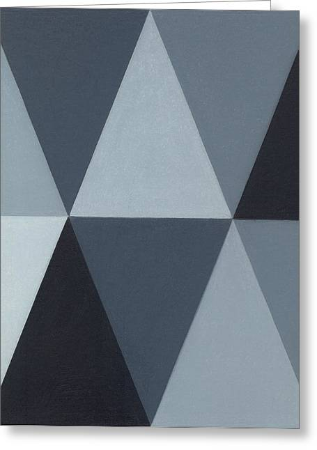 Greyscale Drawings Greeting Cards - Triangle Mini - Grey A3 Greeting Card by Adam Schreck