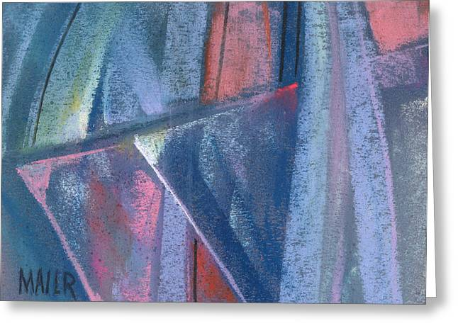 work Pastels Greeting Cards - Triangular Abstract Greeting Card by Donald Maier