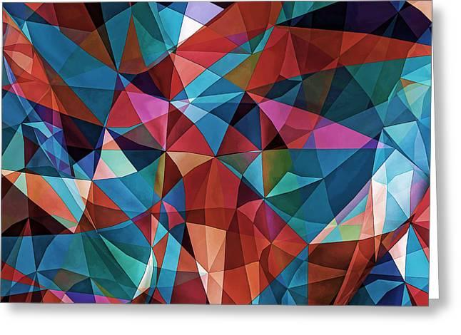 Geometric Artwork Greeting Cards - Triangular Crowd  Greeting Card by Nenad  Cerovic