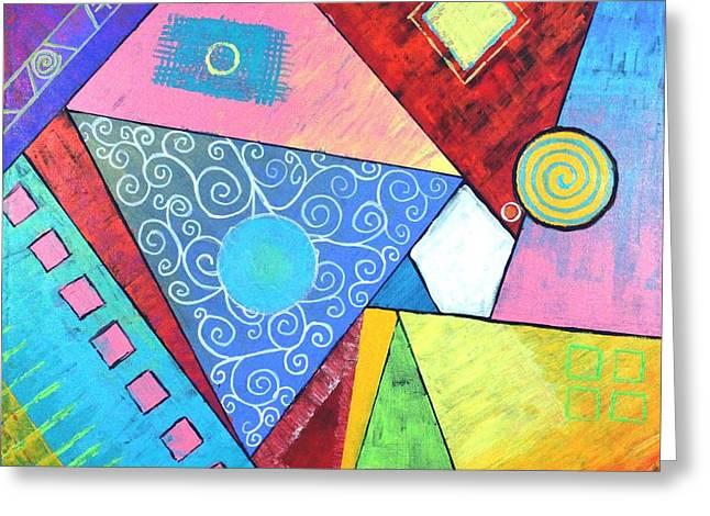 Triangular Worlds Greeting Card by Jeremy Aiyadurai