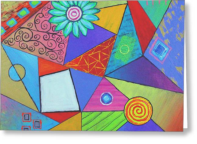 Triangular Worlds V2 Greeting Card by Jeremy Aiyadurai