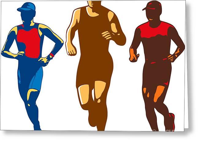 Jogging Greeting Cards - Triathlete Marathon Front Collection Retro Greeting Card by Aloysius Patrimonio