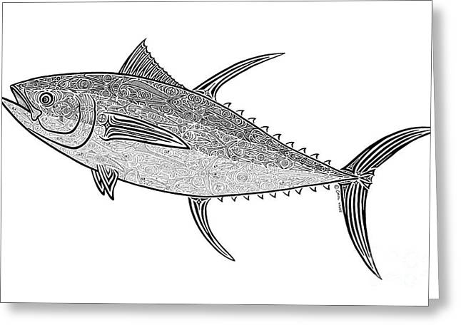 Diving Drawings Greeting Cards - Tribal Ahi Greeting Card by Carol Lynne