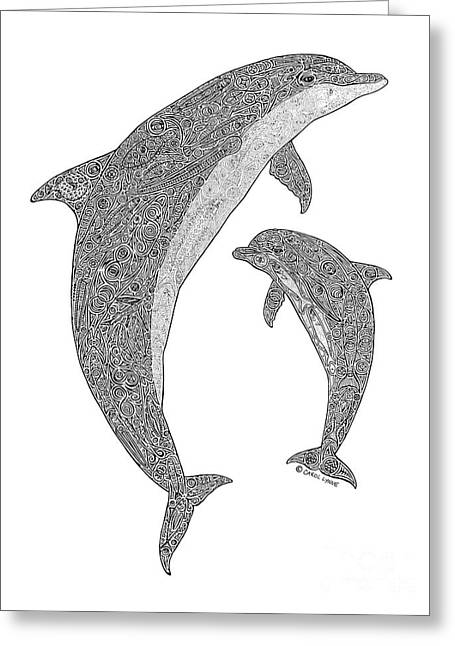 Tribal Bottle Nose Dolphin And Calf Greeting Card by Carol Lynne