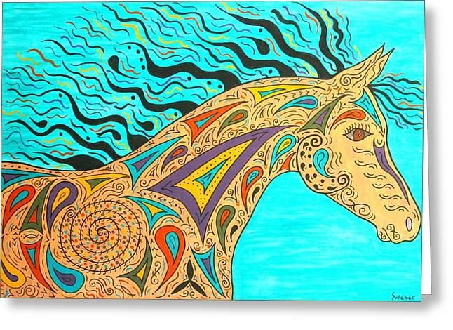 Susie Weber Greeting Cards - Tribal Carnival Spirit Horse Greeting Card by Susie WEBER