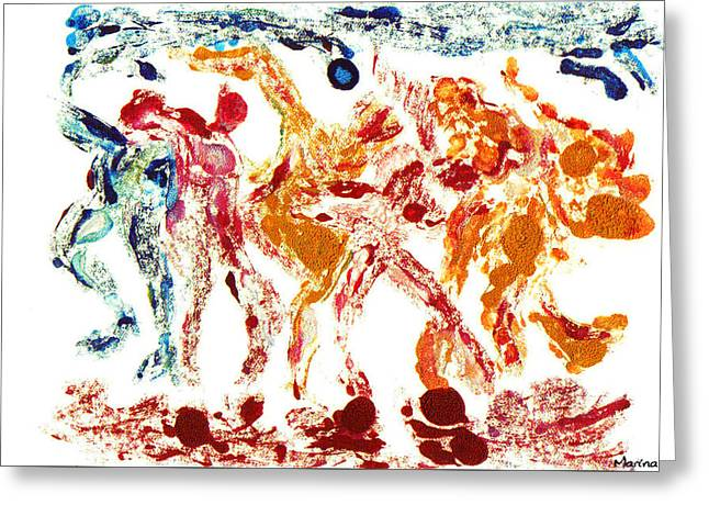 Printmaking Greeting Cards - Tribal Dance Greeting Card by M Images