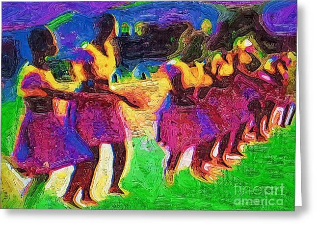 Ghana Greeting Cards - Tribal Dancers Greeting Card by Deborah MacQuarrie