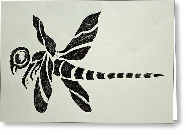 Tattoo Flash Greeting Cards - Tribal Dragonfly Greeting Card by Pete Maier
