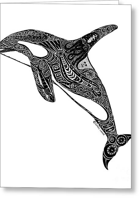 Wild Life Drawings Greeting Cards - Tribal Orca Greeting Card by Carol Lynne