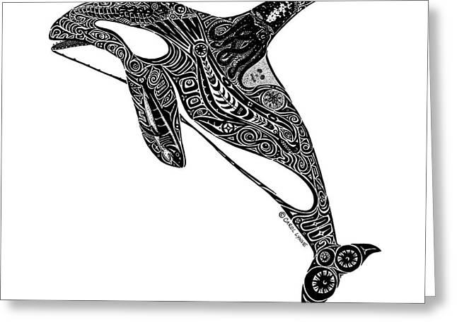 Tribal Orca Greeting Card by Carol Lynne