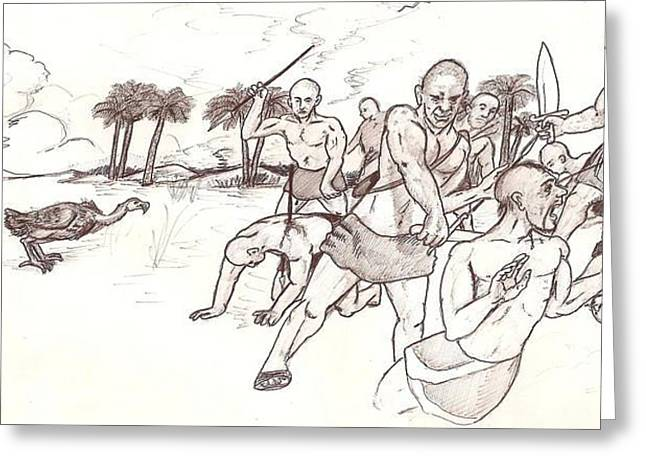Disability Drawings Greeting Cards - Tribal wars ancient Summer  Greeting Card by Sohel A Bahjat