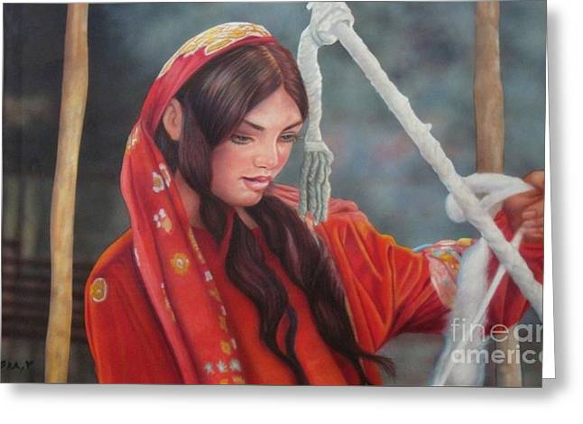 Thread Pastels Greeting Cards - Tribal Woman Greeting Card by Saba Aghajan