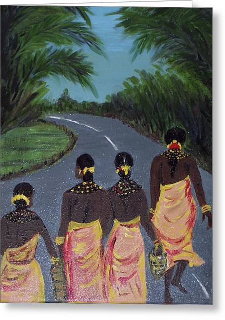 Women Only Paintings Greeting Cards - Tribal Women Greeting Card by Iris Devadason