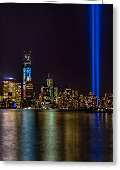 The City That Never Sleeps Greeting Cards - Tribute In Lights Memorial Greeting Card by Susan Candelario