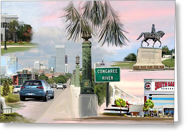 Montage Drawings Greeting Cards - Tribute to Columbia SC Greeting Card by Greg Joens