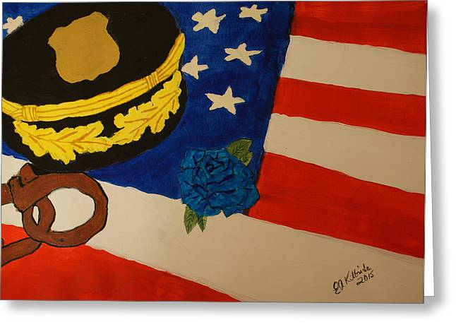 Law Enforcement Paintings Greeting Cards - Tribute To Law Enforcement Greeting Card by Elizabeth Kilbride