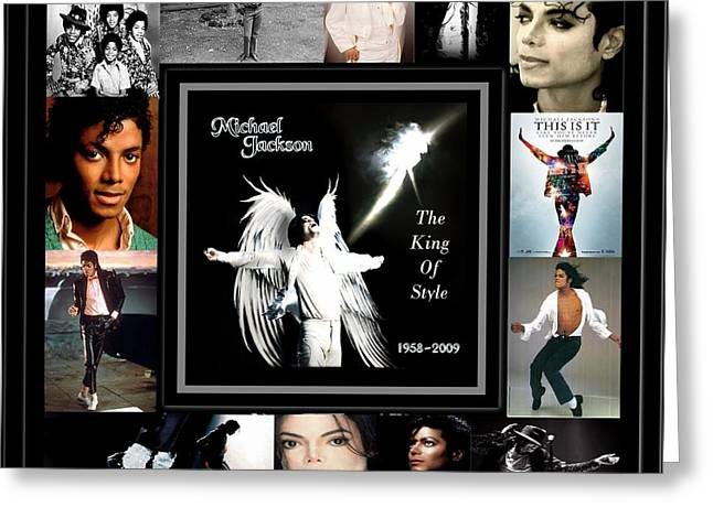 Mj Digital Greeting Cards - TRIBUTE to Michael Jackson The King of Style Greeting Card by Davandra Cribbie