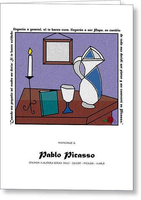 Pablo Greeting Cards - Tribute to Picasso Greeting Card by Marilou Rivera-Ramos