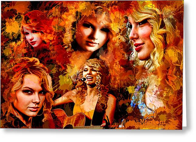 Tribute to Taylor Swift Greeting Card by Alex Martoni