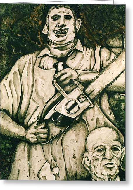 Killer Drawings Greeting Cards - Tribute to the Texas Chainsaw Massacre Greeting Card by Sam Hane