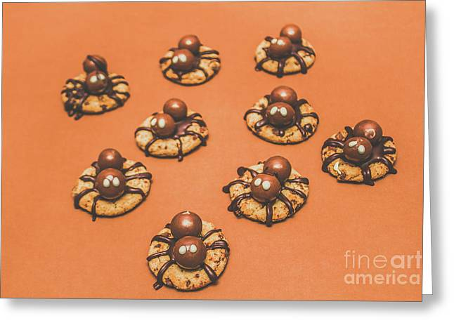 Trick Or Treat Halloween Spider Biscuits Greeting Card by Jorgo Photography - Wall Art Gallery