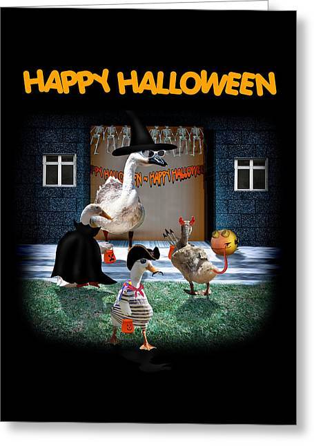 Tricks Mixed Media Greeting Cards - Trick or Treat Time for Little Ducks Greeting Card by Gravityx9  Designs