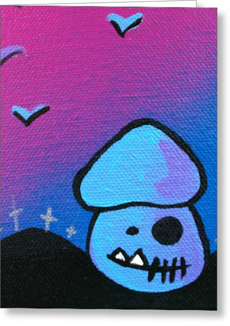 Purple Mushrooms Greeting Cards - Tricky Zombie Mushroom Greeting Card by Jera Sky