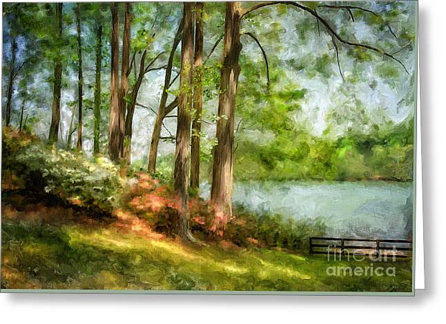 Sanitary Greeting Cards - Tridelphia Lake In May Greeting Card by Lois Bryan