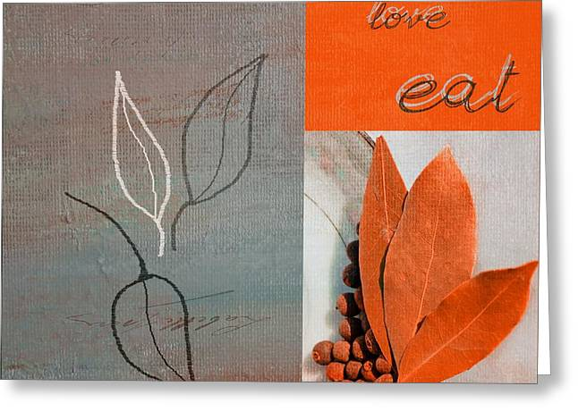 Kitchen Wall Digital Greeting Cards - Trilioli Kitchen Decor - orange 02 Greeting Card by Variance Collections