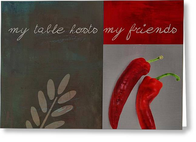 Hot Peppers Greeting Cards - Triloli Kitchen Decor - Red 155b Greeting Card by Variance Collections