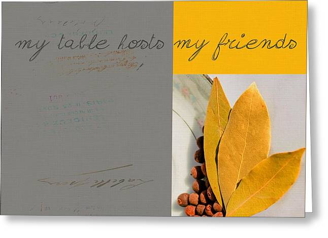 Yellow Leaves Greeting Cards - Triloli Kitchen Decor - Yellow 88a Greeting Card by Variance Collections