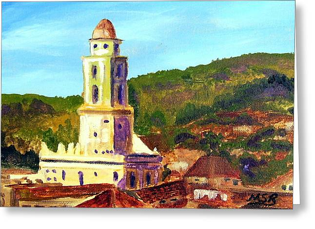 Cuban Artist Greeting Cards - Trinidad Church Cuba Greeting Card by Maria Soto Robbins