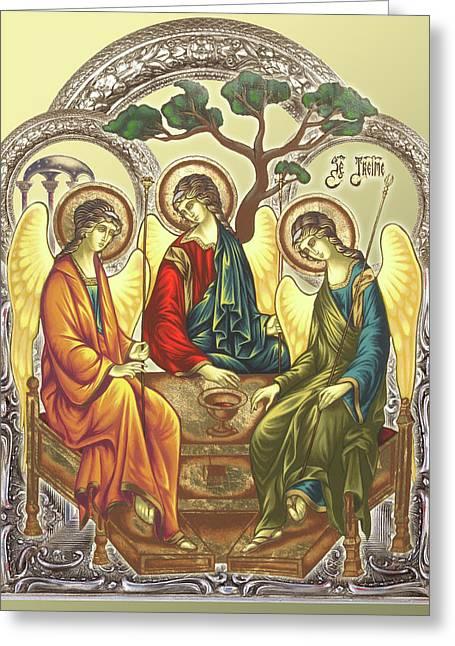 Byzantine Mixed Media Greeting Cards - TRINITY after Rubliov Greeting Card by Iosif Ioan Chezan