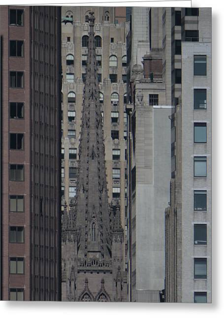 Wall Street Greeting Cards - Trinity Church from a mile away in Brooklyn Greeting Card by Christopher Kirby