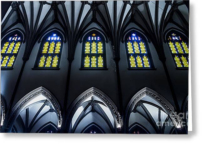 Ecru And Brown Greeting Cards - Trinity Church Nave and Aisle Greeting Card by James Aiken