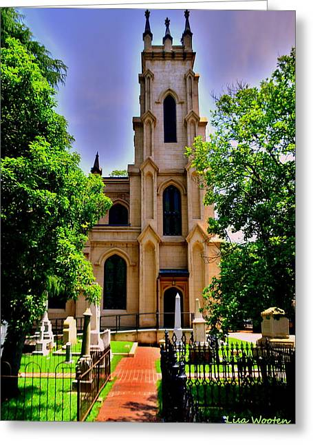 Trinity Episcopal Cathedral Columbia Sc Burial Ground Greeting Card by Lisa Wooten