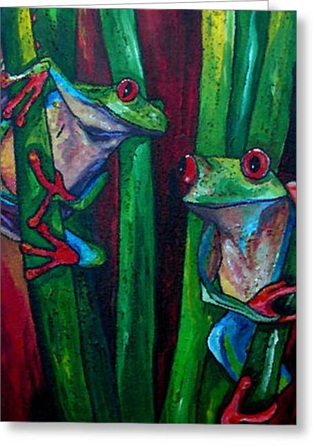 Tree Frog Greeting Cards - Trinity of Tree Frogs Greeting Card by Patti Schermerhorn
