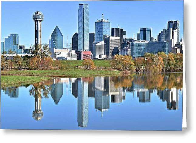 Trinity Park Water Reflects The Big D Greeting Card by Frozen in Time Fine Art Photography