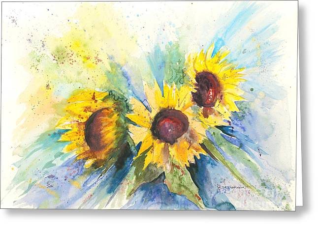 Recently Sold -  - Yellow Sunflower Greeting Cards - Trinity Greeting Card by Sandra Strohschein