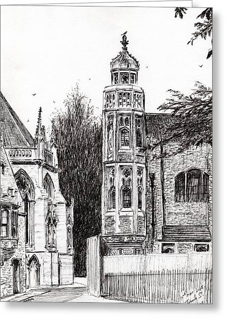 Fence Drawings Greeting Cards - Trinity Street Cambridge Greeting Card by Vincent Alexander Booth