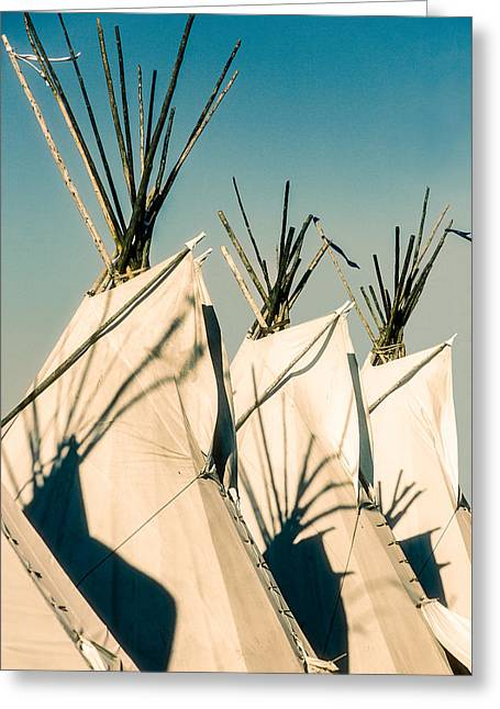 Powwow Greeting Cards - Trio of Tipis Greeting Card by Todd Klassy