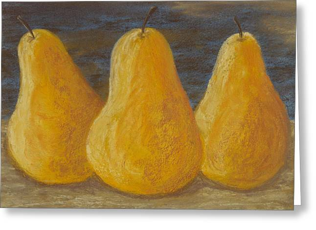 Trio Of Yellow Pears Greeting Card by Cheryl Albert