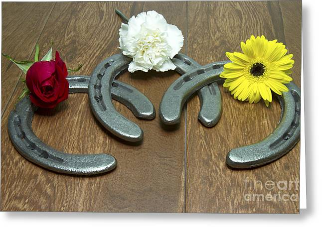 Preakness Stakes Greeting Cards - Triple Crown Flowers on Horseshoes Greeting Card by Karen Foley