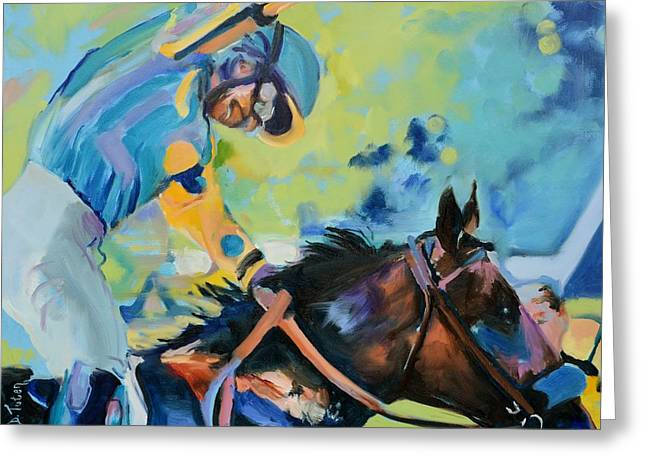 Belmont Stakes Greeting Cards - Triple Crown Champion American Pharoah Greeting Card by Donna Tuten