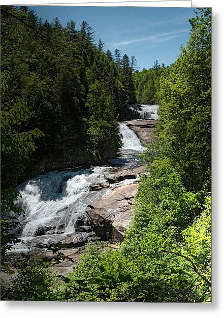 John Haldane Greeting Cards - Triple Falls in Dupont State Forest Greeting Card by John Haldane