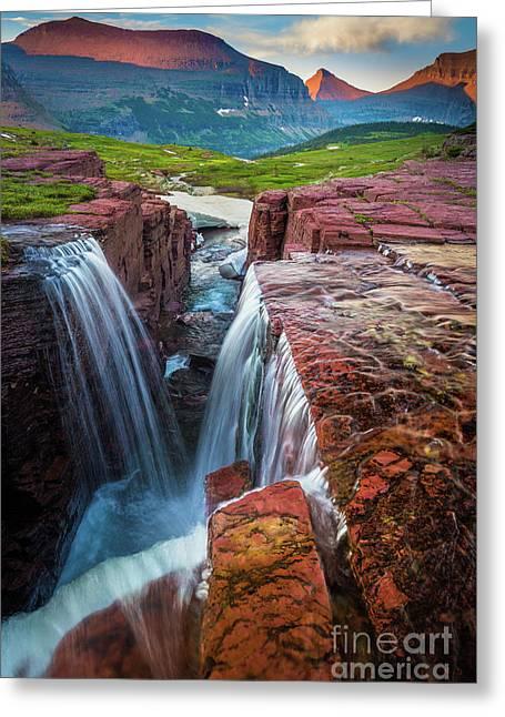 Triple Falls Sunset Greeting Card by Inge Johnsson