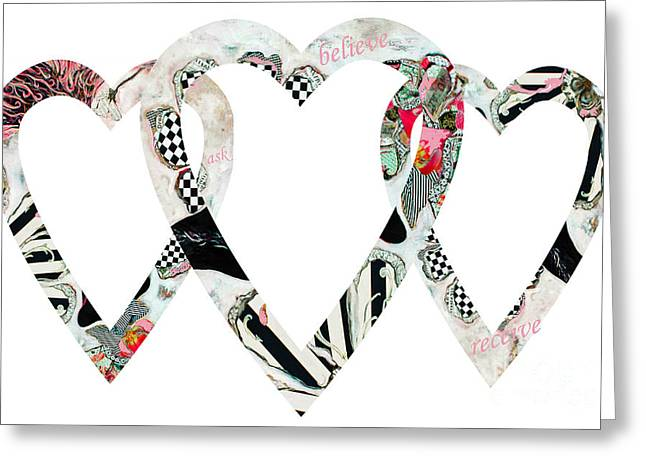 Romance Mixed Media Greeting Cards - Triple Hearts Greeting Card by adSpice Studios