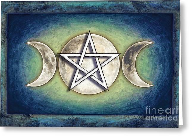 Sacred Digital Greeting Cards - Moon Pentagram - Triple Moon II Greeting Card by Dirk Czarnota