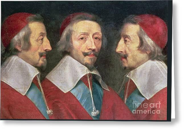 Triple Portrait Of The Head Of Richelieu Greeting Card by Philippe de Champaigne