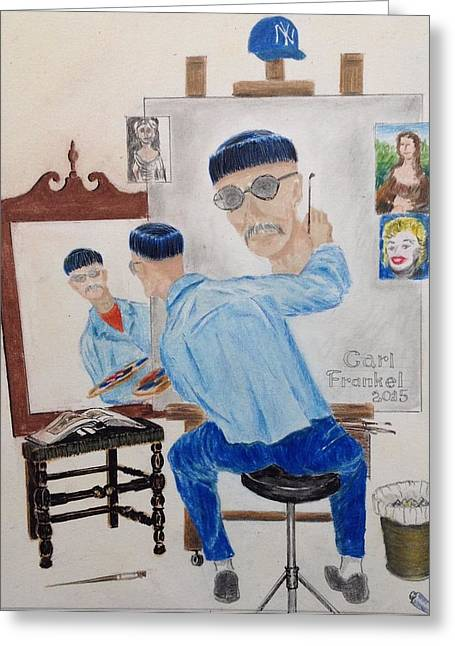 Replacing Drawings Greeting Cards - Triple Self Portrait...Ala Norm Rockwell Greeting Card by Carl Frankel